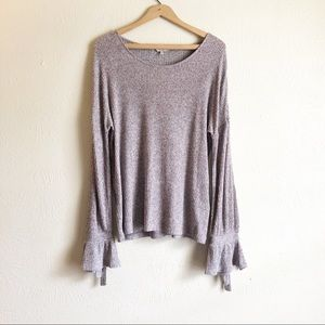Lucky Brand Ribbed Tie Bell Sleeve Sweater